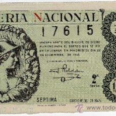 Lotería Nacional: BONITO DECIMO - LOTERIA NACIONAL - MADRID 22 DE DICIEMBRE DE 1945 - SORTEO 36. Lote 55773305