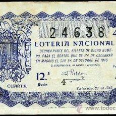 Lotería Nacional: LON1 463001 LOTERIA NACIONAL, AÑO 1946 SORTEO 30. Lote 27627490