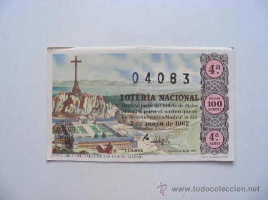 LOTERIA NACIONAL, Nº04083, SORTEO Nº13, 5 DE MAYO DE 1962 (Coleccionismo - Lotería Nacional)