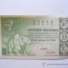 Lotería Nacional: LOTERIA NACIONAL, Nº35088, SORTEO Nº15, 25 DE MAYO DE 1964. Lote 27665285