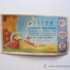Lotería Nacional: LOTERIA NACIONAL, Nº51704, SORTEO Nº19, 6 DE JULIO 1964. Lote 27665312