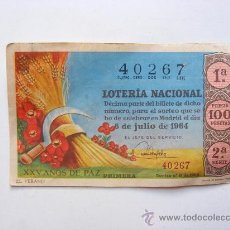 Lotería Nacional: LOTERIA NACIONAL, Nº40267, SORTEO Nº19, 6 DE JULIO 1964. Lote 27665320