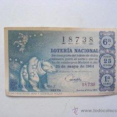 Lotería Nacional: LOTERIA NACIONAL, Nº18738, SORTEO Nº15, 25 DE MAYO 1964. Lote 27665344
