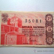 Lotería Nacional: LOTERIA NACIONAL, 25 DE MAYO DE 1962, SORTEO Nº15. Lote 27688649