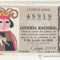 Lotería Nacional: DÉCIMO 6 DE JUNIO DE 1966 SORTEO 16. ADMÓN 11 DE VALENCIA. 66-16.. Lote 29109602