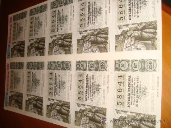 LOTERIA NACIONAL BILLETE 10 DECIMOS, 27 JUNIO 1981, CANTOR DE ALELUYAS (Coleccionismo - Lotería Nacional)