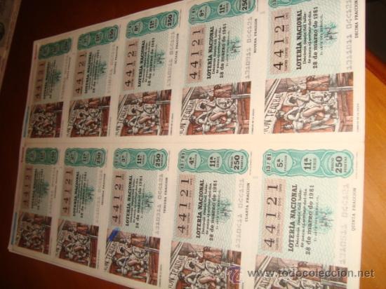 LOTERIA NACIONAL BILLETE 10 DECIMOS. 28 DE MARZO DE 1981, COMICOS DE LA LEGUA (Coleccionismo - Lotería Nacional)