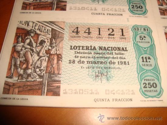 Lotería Nacional: LOTERIA NACIONAL BILLETE 10 DECIMOS. 28 DE MARZO DE 1981, COMICOS DE LA LEGUA - Foto 2 - 29355846