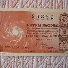 Lotería Nacional: DECIMO DE LOTERIA NACIONAL , SORTEO Nº 27 DE 1964. Lote 29419222