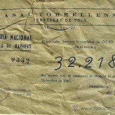 Lotería Nacional: PARTICIPACIÓN LOTERÍA NACIONAL - SORTEO NAVIDAD 1960 - Nº 32218 - CASAL TORRELLENSE. Lote 29850122