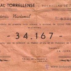 Lotería Nacional: PARTICIPACIÓN LOTERÍA NACIONAL - SORTEO NAVIDAD 1959 - Nº 34167 - CASAL TORRELLENSE - TORRELLES FOIX. Lote 29850179