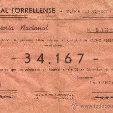 Lotería Nacional: PARTICIPACIÓN LOTERÍA NACIONAL - SORTEO NAVIDAD 1959 - Nº 34167 - CASAL TORRELLENSE - TORRELLES FOIX. Lote 29850183