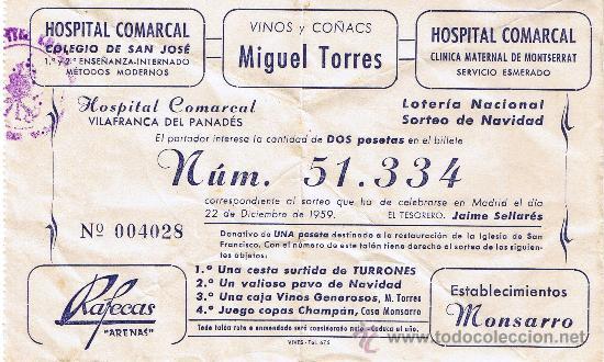 PARTICIPACIÓN LOTERÍA NACIONAL - SORTEO NAVIDAD 1959 - Nº 51334 - HOSPITAL COMARCAL-MIGUEL TORRES (Coleccionismo - Lotería Nacional)