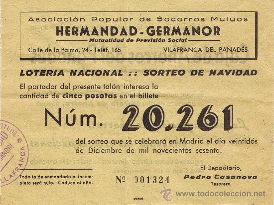 PARTICIPACIÓN LOTERÍA NACIONAL - SORTEO NAVIDAD 1960 - Nº 20261 - HERMANDAD GERMANOR - VILAFRANCA PD (Coleccionismo - Lotería Nacional)