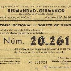 Lotería Nacional: PARTICIPACIÓN LOTERÍA NACIONAL - SORTEO NAVIDAD 1960 - Nº 20261 - HERMANDAD GERMANOR - VILAFRANCA PD. Lote 29850279