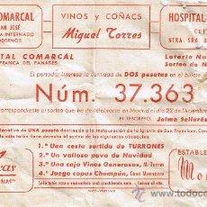 Lotería Nacional: PARTICIPACIÓN LOTERÍA NACIONAL - SORTEO NAVIDAD 1960 - Nº 37363 - HOSPITAL COMARCAL-VINOS TORRES. Lote 29850361