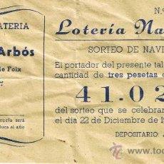 Lotería Nacional: PARTICIPACIÓN LOTERÍA NACIONAL - SORTEO NAVIDAD 1960 - Nº 41024 - ALPARGATERÍA J.ARBÓS-TORRELLES F. Lote 29850372