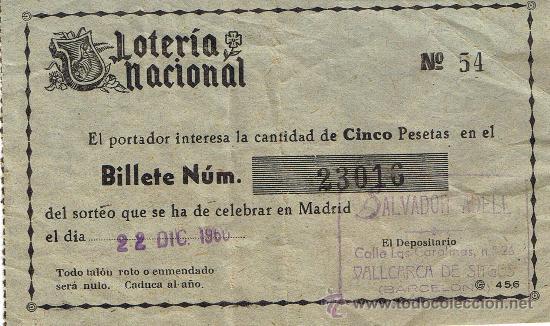 PARTICIPACIÓN LOTERÍA NACIONAL - SORTEO NAVIDAD 1960 - Nº 23016 - SALVADOR ADELL - VALLCARCA SITGES (Coleccionismo - Lotería Nacional)