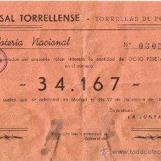 Lotería Nacional: PARTICIPACIÓN LOTERÍA NACIONAL - SORTEO NAVIDAD 1959 - Nº 34167 - CASAL TORRELLENSE-TORRELLES FOIX. Lote 29850431
