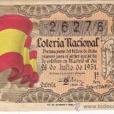 Lotería Nacional: PRECIOSO BILLETE LOTERIA NACIONAL -SORTEO 26 DE JULIO 1951. Lote 29688353