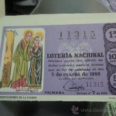 Lotería Nacional: LOTERIA NACIONAL. 5 DE MARZO DE 1966. PERFECTO.. Lote 29857227