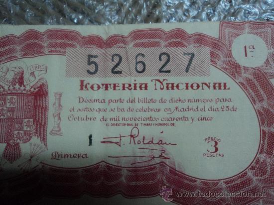 LOTERIA NACIONAL. 25 DE OCTUBRE DE 1945. (Coleccionismo - Lotería Nacional)
