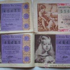 Lotería Nacional: 4 NUMEROS LOTERIA NACIONAL AÑOS 1959-60. Lote 30191009