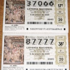 Lotería Nacional: IÑI LOTE. DÉCIMOS DE LOTERÍA NACIONAL.SORTEO DE EL NIÑO.2/09. ENERO 2009. LOTTERY TICKETS. DELTA.. Lote 30232352