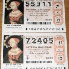 Lotería Nacional: IÑI LOTE. DÉCIMOS DE LOTERÍA NACIONAL. SORTEO 4/12. 14 ENERO 2012. LOTTERY TICKETS. DELTA.. Lote 30232711
