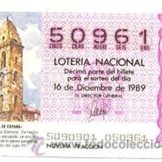 Lotería Nacional: LOTNAC50-89. LOTERIA NACIONAL SORTEO Nº 50 DE 1989. TORRE DE MOMBUEY (ZAMORA). Lote 96609210