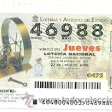 Lotería Nacional: 10-0048. LOTERÍA DEL JUEVES, SORTEO Nº 48 DEL AÑO 2000. INVENTOS. ANEMÓMETRO. Lote 93749627