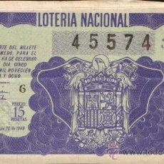 Lotería Nacional: DECIMO DE LOTERIA SORTEO 10 DE 1948 CONSERVACION E- (441). Lote 30535435