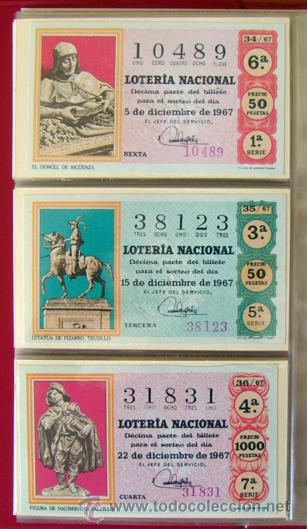 Lotería Nacional: LOTERIA NACIONAL . AÑO 1967 . 30 DÉCIMOS . NUEVOS - Foto 7 - 30589519