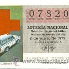 Lotería Nacional: LOTNAC79-21. LOTERIA NACIONAL SORTEO Nº 21 DE 1979. AMBULANCIA DE LA CRUZ ROJA. Lote 113704114