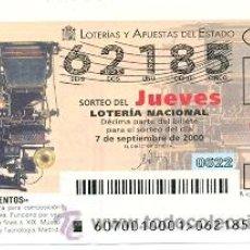 Lotería Nacional: 10-0070. LOTERIA DEL JUEVES, SORTEO Nº 70 DEL AÑO 2000. LINOTIPIA. Lote 93749772