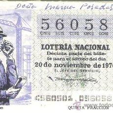 Lotería Nacional: 1 DECIMO LOTERIA DEL SABADO - 20 NOVIEMBRE 1976 - 45/76 - INVENTOS ( RADIO TELEFONO ). Lote 30697561