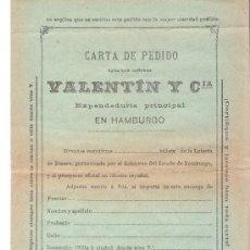 Lotería Nacional: 1897.- HOJA DE PEDIDO PARA PARTICIPAR EN LA GRAN LOTERIA DE DINERO Y CON SOBRE RESPUESTA CERTIFICADA. Lote 30708469