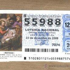 Lotería Nacional: LOTERIA NACIONAL. NÚMERO 55988 22-12-2008. LA BRUIXA D'OR. SORT.. Lote 30822991