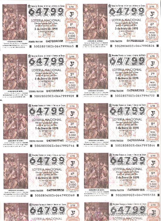 1 BILLETE LOTERIA DEL SABADO - 5 ENERO 1998 - 2/98 ADORACION DE LOS MAGOS - CATEDRAL DE CIUDAD REAL (Coleccionismo - Lotería Nacional)