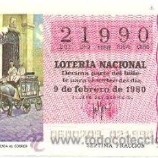 Lotería Nacional: LOTNAC6-80. LOTERÍA NACIONAL, SORTEO Nº 6 DE 1980. Lote 31041946