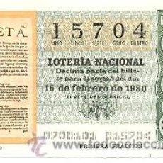 Lotería Nacional: LOTNAC7-80. LOTERÍA NACIONAL, SORTEO Nº 7 DE 1980. Lote 31041955