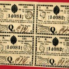 Lotería Nacional: LOTERIA NACIONAL, EPOCA COLONIAL 4 PARTICIPACIONES ,CUBA , 11 DICIEMBRE 1840 , ORIGINAL, L136. Lote 31351039