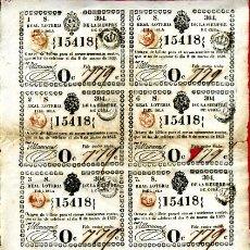 Lotería Nacional: LOTERIA NACIONAL, EPOCA COLONIAL 8 PARTICIPACIONES ,CUBA , 8 MARZO 1839 , ORIGINAL, L133. Lote 31351072