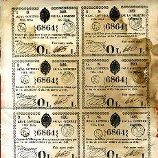 Lotería Nacional: LOTERIA NACIONAL, EPOCA COLONIAL 8 PARTICIPACIONES ,CUBA , 7 MARZO 1840 , ORIGINAL, L135. Lote 31351119