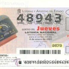 Lotería Nacional: 10-01-1. LOTERIA NACIONAL DEL JUEVES, INVENTOS. APARATO RECEPTOR DE GALENA. Lote 93750047