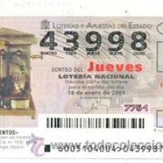 Lotería Nacional: 10-01-5. LOTERÍA NACIONAL DEL JUEVES, INVENTOS.CAFETERA OYARZÚN. Lote 31413386