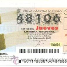 Lotería Nacional: 10-01-11. LOTERÍA NACIONAL DEL JUEVES, INVENTOS. PRISMA. Lote 93750119