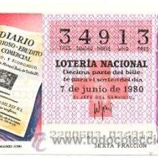 Lotería Nacional: LOTNAC22-80. LOTERÍA NACIONAL, SORTEO Nº 22 DE 1980. DIARIO NOTICIOSO DE MADRID. Lote 31413586