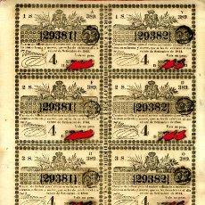 Lotería Nacional: LOTERIA NACIONAL, EPOCA COLONIAL 8 PARTICIPACIONES ,CUBA , 20 SEPTIEMBRE 1844 , ORIGINAL, L140. Lote 31709403