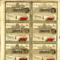 Lotería Nacional: LOTERIA NACIONAL, EPOCA COLONIAL 8 PARTICIPACIONES ,CUBA , 20 SEPTIEMBRE 1844 , ORIGINAL, L141. Lote 31709407